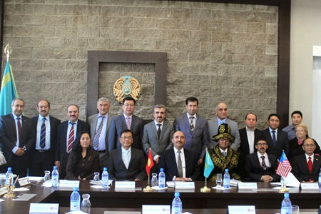 At Suleymen Demirel University (SDU), Almaty. Also present was the President of International Ataturk Alatoo University, Kyrgyz Republic Prof. Osman Gokalp (front row, second from right) and SDU's Rector, Prof. Mesut Akgul (front row, fourth from right).