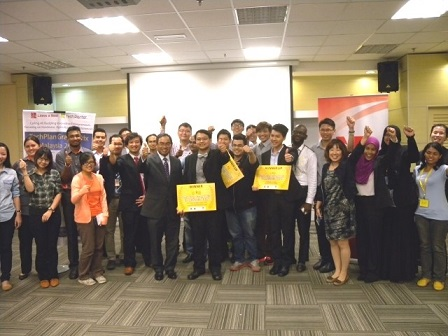 Dr. Khoo Hock Eng (front, centre) holding the winning prize after the prize presentation ceremony