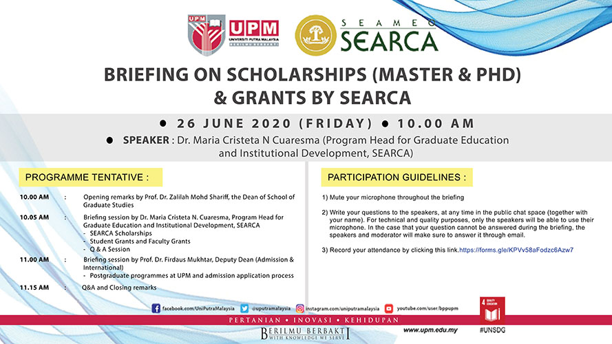 Briefing on Scholarships (Master & PhD) and Grants by SEARCA